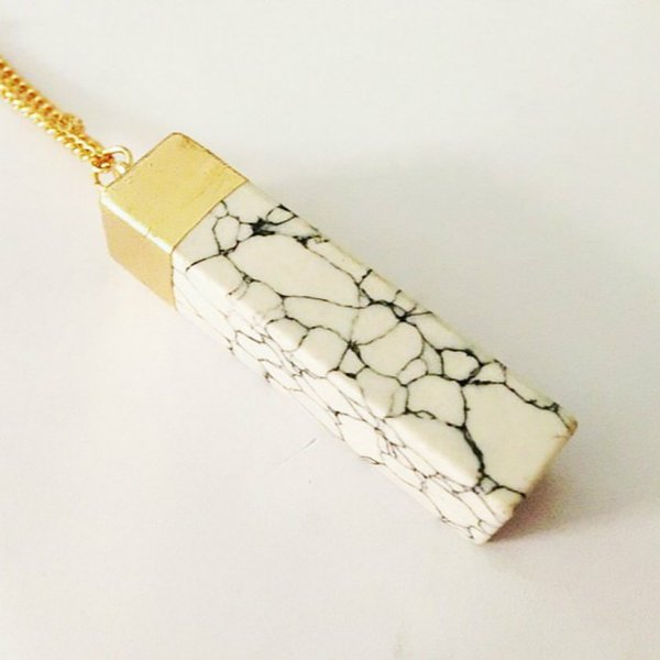 Fashion New Natural Stone Pendants Women Rectangle Natural Crystal Stone Necklace 5 Colors Natural Stones Jewelry