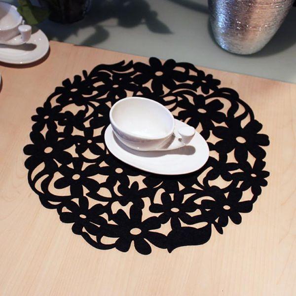 Wholesale- Round Laser Cut Flower Design Felt Placemats Kitchen Dinner Table Mats 30x30cm