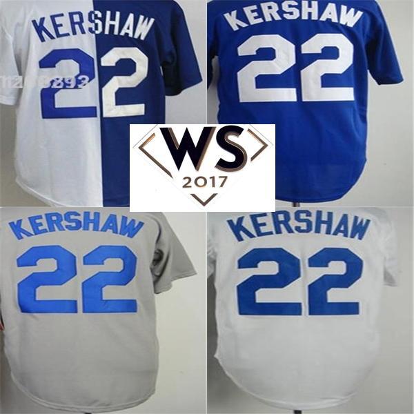 2017 WS Patch Mens Womens Kinder Kleinkinder Los Angeles 22 Clayton Kershaw Blau Weiß Grau Split Cool Flex Base Baseball Jerseys