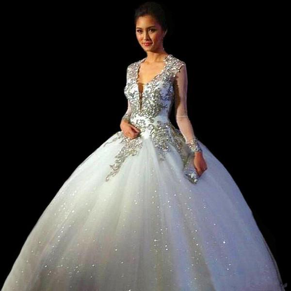 Vestidos De Quinceanera New Sweet scollo a V Quinceanera Abiti Ball Gown Tulle per 15 anni Backless maniche lunghe perline Abito da sera