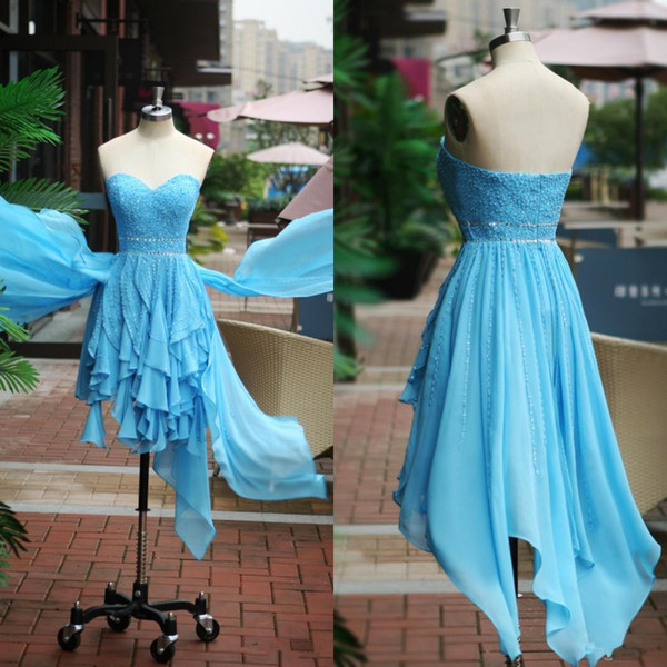 Real Photos 2017 Light Sky Blue Chiffon Short Aysmmetrical Prom Dresses Sweetheart Major Beading Formal Party Gowns Custom Made EN111614