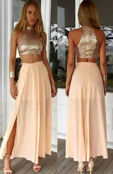 Two Pieces Prom Dresses 2016 High Collar Sequins Bodice Sleeveless Chiffon Skirt With Side Split Ankle-Length Evening Gowns Party Dreses