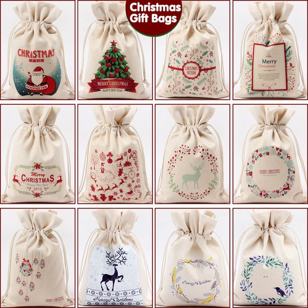 best selling IN Stock!!! Christmas Gift Bag Pure Cotton Canvas Drawstring Sack Bags 12 Stypes With Xmas Santa Design For Gifts Candy