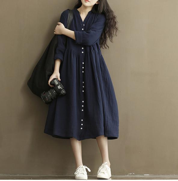 Mulheres Casual Vestido De Linho 2015 Outono Botão de Manga Longa Mori Vestido Da Menina Estilo Coreano Solto V Pescoço Grande Balanço de Algodão de Linho Vestidos