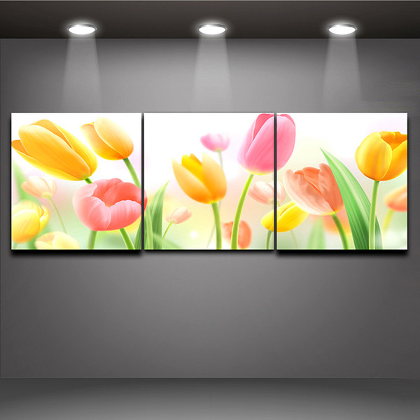 3 Piece Art Sets Dreamy Tulip Flower Picture Print on Canvas Painting Home Office Hotel Wall Art Decor