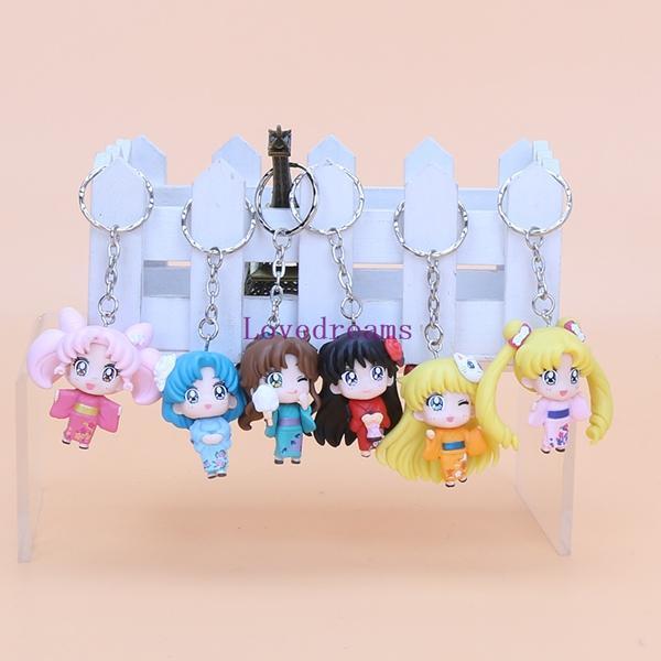 6pcs/set Anime Sailor Moon kimono Chibimoon Mars Jupiter Venus Mercury PVC Action Figure Model Toys phone Keychain Pendant