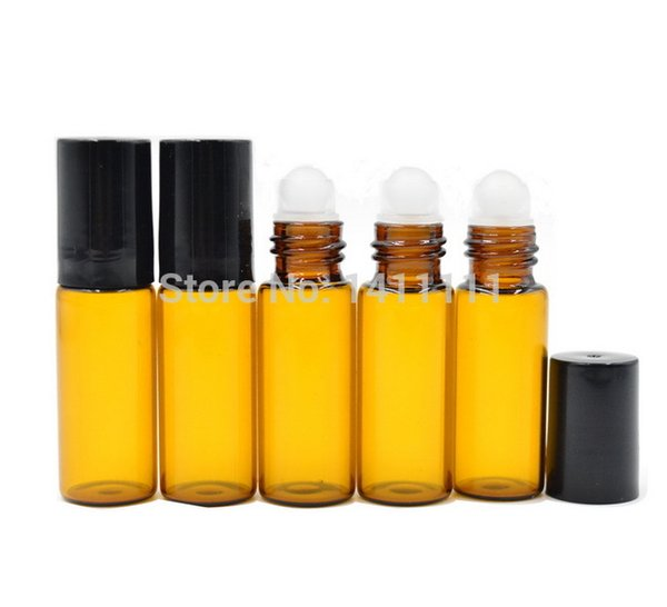 Refillable 5ml 1/6oz ROLL ON AMBER GLASS BOTTLES ESSENTIAL OIL Glass Roller ball Aromatherapy perfume Bottle Factory Price BY DHL FREE