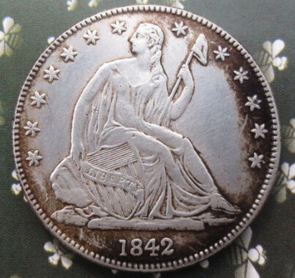 Alta qualità 1842O Seated Liberty Half Dollar copia monete Promozione Prezzo di fabbrica a buon mercato bella casa Accessori monete d'argento