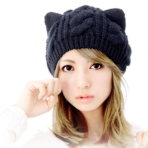 Lovely Cat Ears Hat Beanie Women Warm Solid Color Hip-hop Cap Lady Girls Cute Winter Knitted Skullies Beanies Casual Wool 31