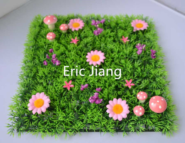 Pack of 50 whole sale Fairy door supplies Artificial plastic grass mat with pink flowers and pink mushrooms