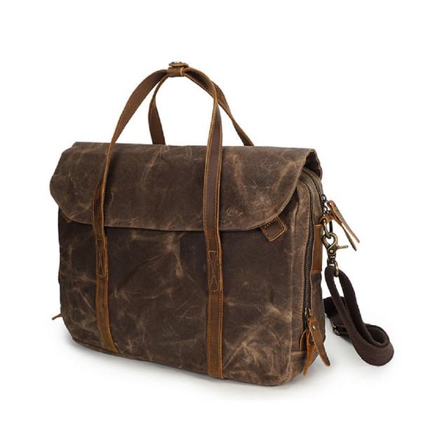 Laptop Bag Waterproof Canvas Messenger handBag,Vintage Shoulder Bag Cow Leather Briefcase