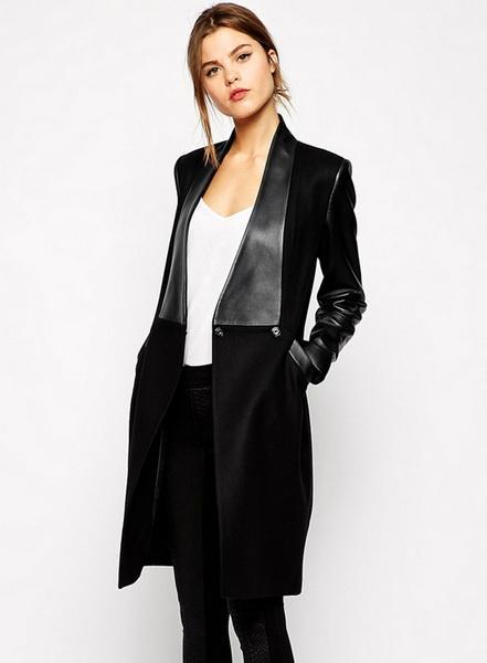 British Noble Fashion UK Princess Kate Coat Celebrity Long sleeve Black PU Outwear Coat Jacket Free shipping / drop shipping