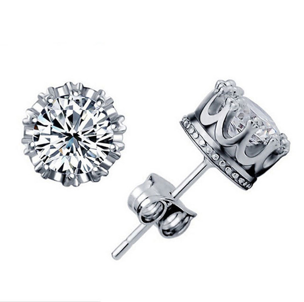 top popular 1CT Austrian Crystal Stud Earrings 925 Sterling Silver Plating 30% White GOLD Crown Wedding Stud Earring Engagement Elements Jewelry 2019