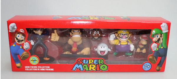 Super Mario Bros Wario Donkey Kong Goomba PVC Action Figure modelo brinquedos bonecas 6 pçs / set novo em caixa vermelha