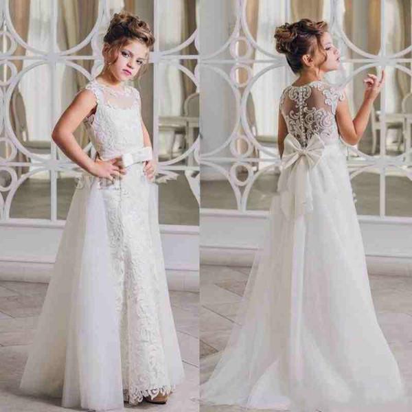 Principessa Sash Lace Girls Pageant Dress Gonna staccabile A-Line 2018 Girl Comunione Dress Bambini Abiti da cerimonia Abiti da sposa per ragazze