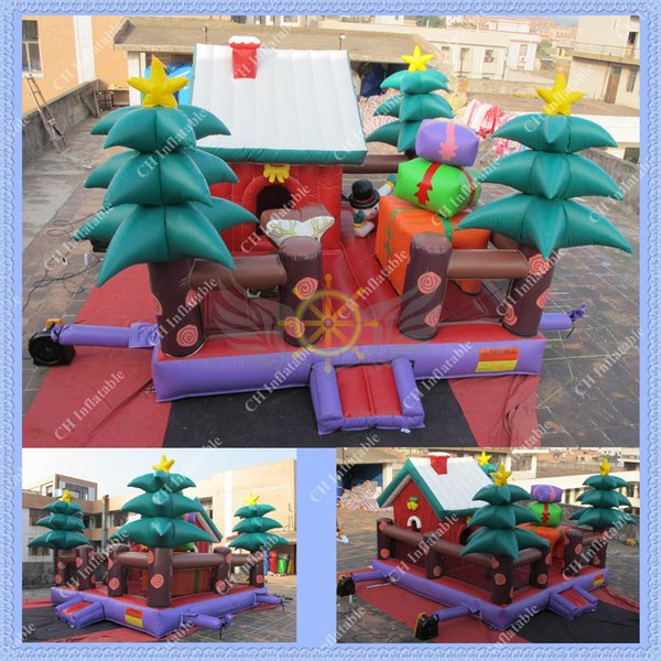 Free Shipping 2015 New Design Inflatable Christmas House Bouncer,Santa Jumping Castle ,Christmas Bounce House for your Party
