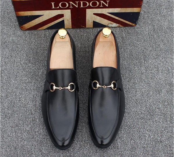 top popular 2018 New Fashion Men's Casual Loafers Genuine Leather Slip-on Dress Shoes Handmade Smoking Slipper Men Flats Wedding Party Shoes EUR 38-44 2019