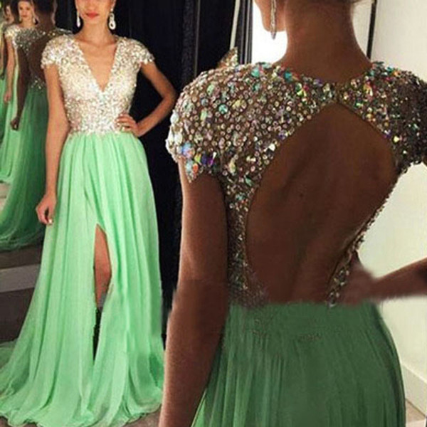 Sparkly Prom Dresses with Slit A Line Deep V Neck Capped Sleeves Colorful Crystals Sequins Chiffon Skirt Evening Gowns Cheap High Quality