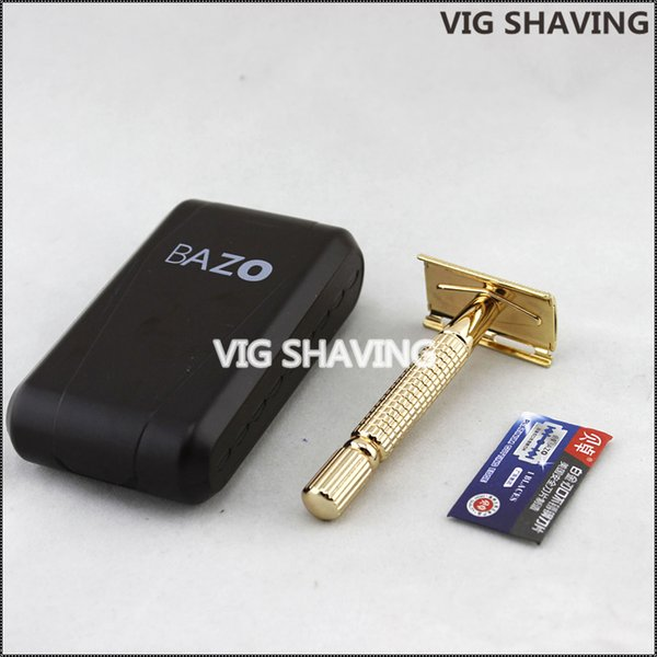 wholesale-metal rose gold color shaver double edge safety razor for men shaving