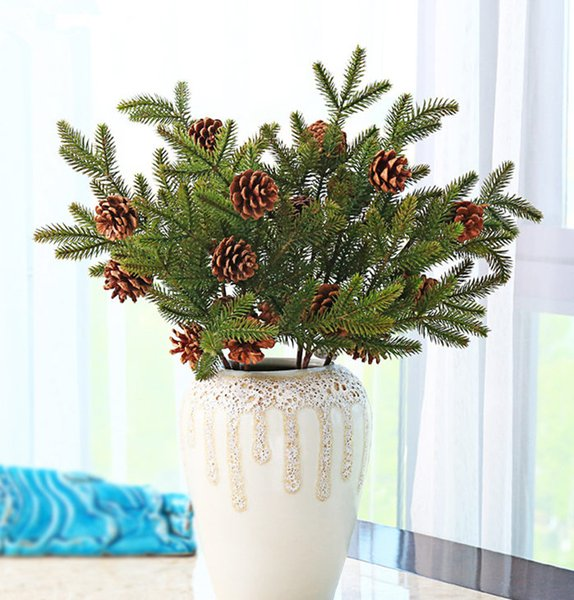 3pcs Dried Real Pine Nuts With Artificial Plastic Pine Branch Pinaster Leaves For Christmas Tree Party Home Decorations Flowers