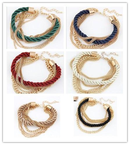 top popular Woman Bracelet Weave Chains Fashion Girls Women Accessory 2015 Lady Party Dress Bracelets Chain 6 Colors D5860 2019