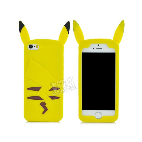 Wholesale-New style Cartoon 3D soft Silicone cover Pikachu pattern cute back phone case for iphone 5 5s