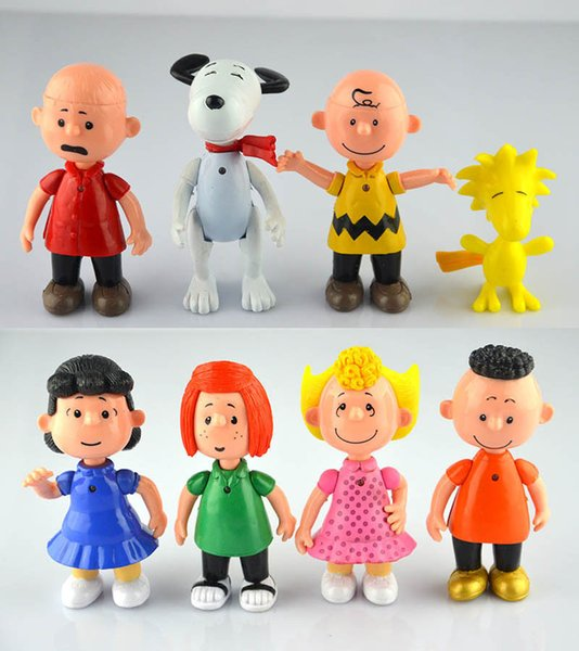 Wholesale Peanuts Comics Charlie Brown And Snoopy Figures Toys 8 Styles Snoopy Action Figures Dolls Anime Figure Toys Free Shipping