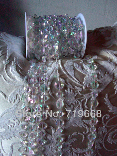 30M/99FT/roll10mm acrylic disk beaded Iridescent crystal garland strands for wedding decoration chandelier Free Shipping