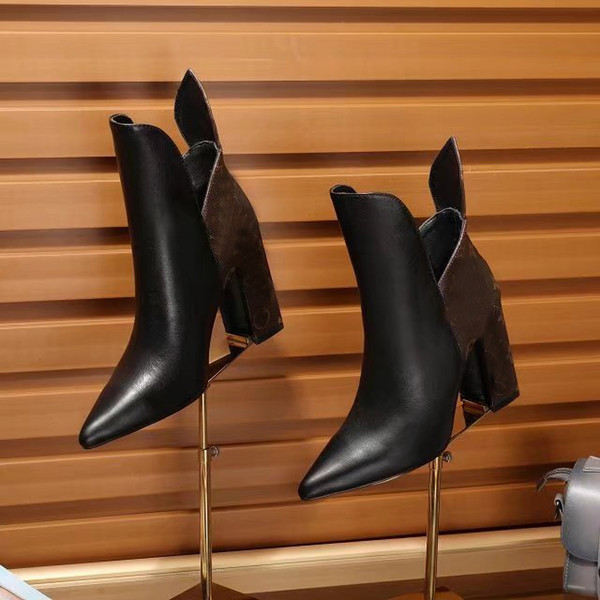 Moda de lujo Womens Tobillo Zapatos para caminar de tacón alto 9.5CM Platform Knight Motocicleta Botas de cuero real Tamaño 35-40