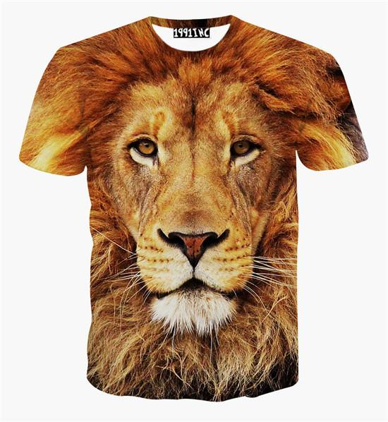 New fashion animal print lion 3d t shirt tiger leopard 3d shirts top for women/men plus size causal tee