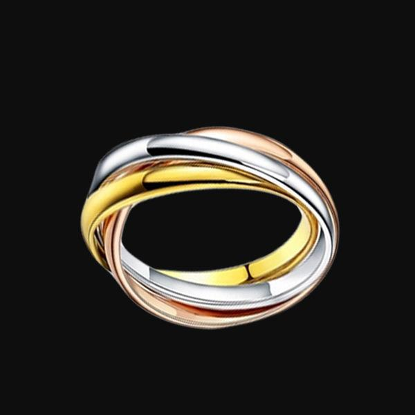 &#67artier Titanium steel 3 colors mixed ring jewelry tricyclic tricolor plain ring of male and female lovers' ring