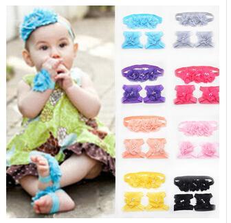9 Color Infant Chiffon Flower Headbands + Feet Acccessories Girl Headwear Kids Baby Photography Props NewBorn Hair Accessories Sets A1B4C2