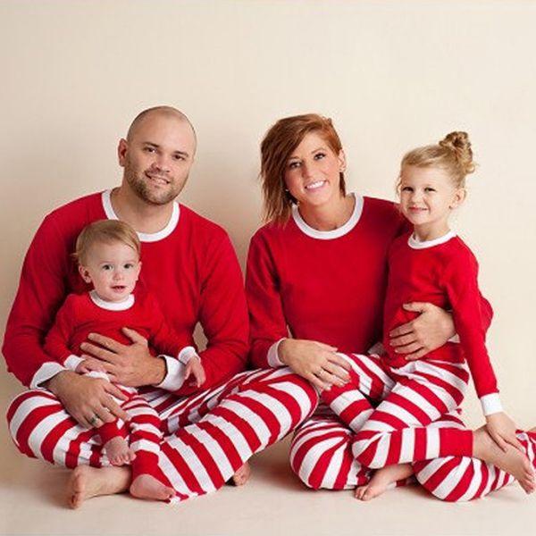 top popular 2018 Christmas Set Xmas Kids Adult Family Matching Outfits Long Sleeves T-shirt Pants Striped Pajamas Sleepwear Nightwear 3 Colors 914 2019
