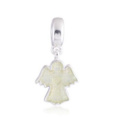 SPARKLING ANGEL DANGLE CHARM DIY Beads Real Solid 925 Sterling Silver Not Plated Fits Original Pandora Bracelets & Bangles & Necklaces