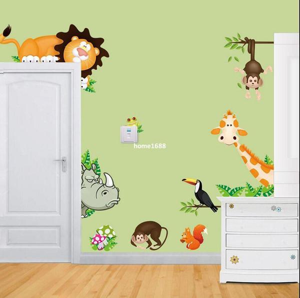 Jungle Wild Animals pared del vinilo pegatina para el bebé Nursery niño palillo de la pared del dormitorio
