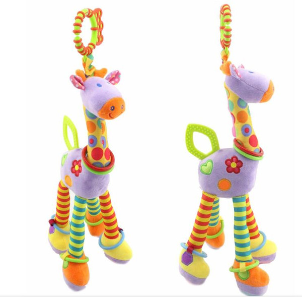 37cm Giraffe Activity Spiral baby bed pram hanging toys baby stroller plush toy infant gifts Free shipping