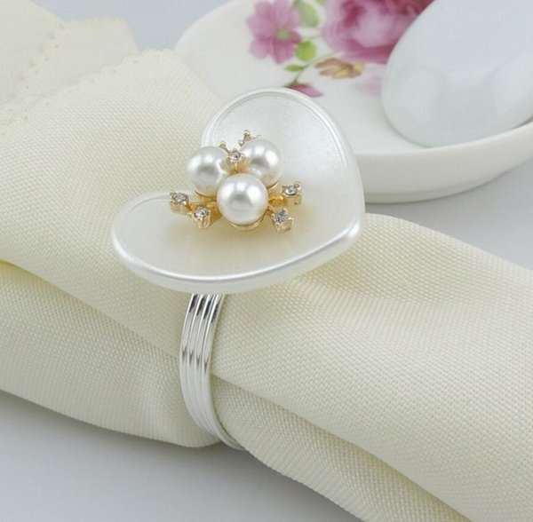 20pcs ABS Heart Crystal&pearls Stamen Flower Napkin ring Serviette Buckle Holder Hotel Wedding Party Favour Decor