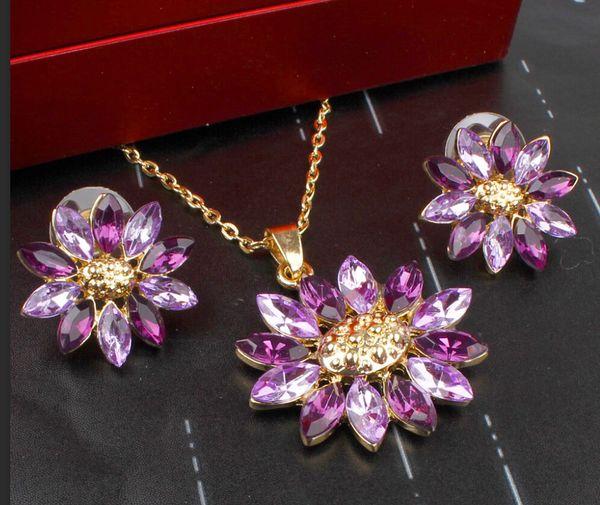 top popular Best Seller Big Flower Pendant Wedding Set 18K Gold Plated Austrian Crystal Necklace Earrings Jewelry Set For Women Bridal 2020