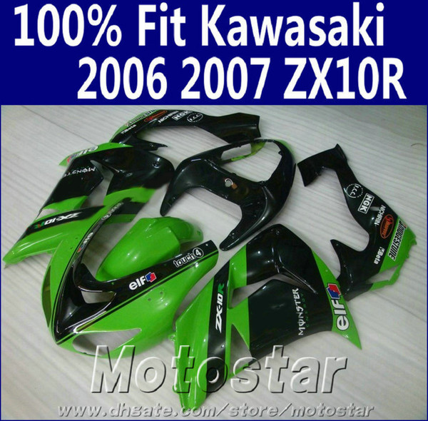 Injection molding fairing body kit for Kawasaki ninja fairings ZX10R 2006 2007 06 07 ZX 10R green black motorcycle parts JU59