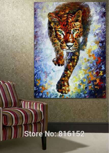 100% Hand-painted Wild Leopard Canvas Oil Painting Frameless Animal Wall Picture for Living Room Bedroom Office Wall Decoration