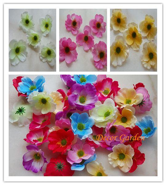 7CM Artificial Poppy Decorative Silk Flower Head For DIY Hair Garland Wreath Flower Home Decoration accessory props