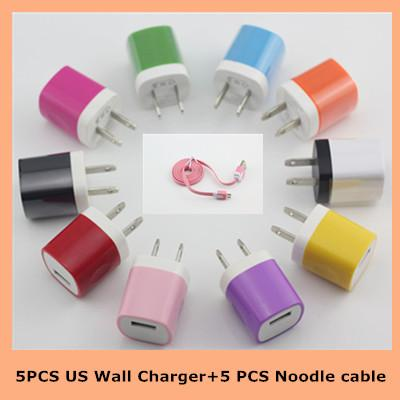 Free Shipping 5PCS 3FT Noodle Micro USB Cable Charger +5Pcs US Wall Charger For Samsung Galaxy S4 S3 Note2 N7100 HTC one LG Blackberry