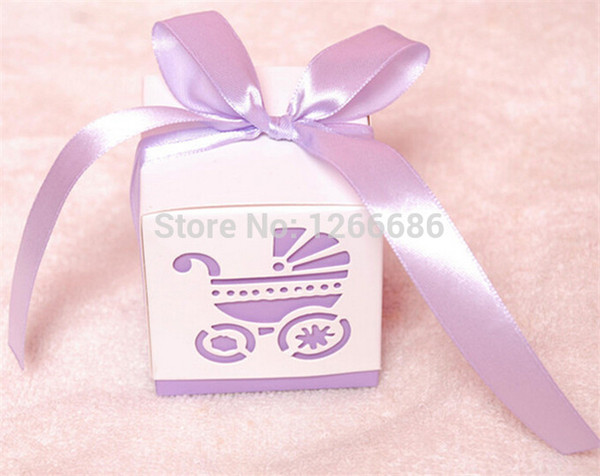 Free shipping 100pcs Baby's Day Pink Carriage Laser-Cut Candy Boxes Wedding Party Gift Favour Bags Holders baby shower decoration