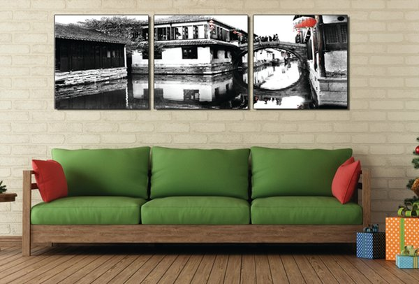 3 Pieces Free shipping Wall Painting Art Picture Paint on Canvas Prints Panoramic photos Small town scenery Wooden pier tree house fence
