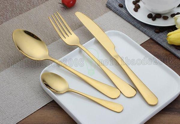 top popular High-grade Gold Cutlery spoon fork knife tea spoon Matte Gold Stainless Steel Food Silverware Dinnerware Utensil MYY 2019