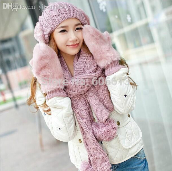 Wholesale-3 in 1 Ladies Girls Winter Warm Fur Hat Cap Fur Gloves And Scarf Set Women Knitted Acrylic 5colors Free Shipping