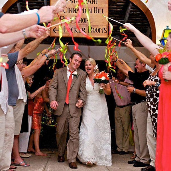 Wedding Ribbon Stick Mixed Color Confetti Ribbon Stick Wands ...