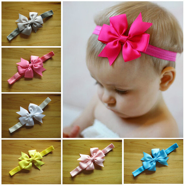 Baby Elastic Headbands Children Hair Accessories Kids Hair Flowers Girls Boutique Bowknot Head bands Infant Headband christmas gift D676J