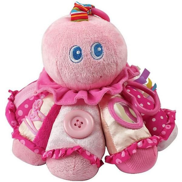 Nuovo arrivato morbido bambino giocattolo culla letto passeggino appeso giocattolo peluche carino rosa polpo sonaglio bambola massaggiagengive