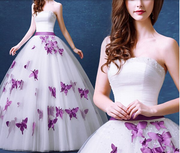 Strapless Sleeveless Pearl Purple Butterfly Sweet Princess Bride ...